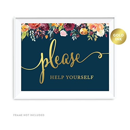 Party Signs, Navy Blue Burgundy Florals with Metallic Gold Ink, 8.5x11-inch, Please Help Yourself Reception Dessert Table Sign, 1-Pack, Colored Fall Autumn Decorations ()