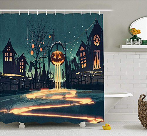 Fantasy Art House Decor Shower Curtain by, Halloween Theme Night Pumpkin and Haunted House Ghost Town Artful, Fabric Bathroom Decor Set with Hooks, 60 W x 72 L inches, Teal -