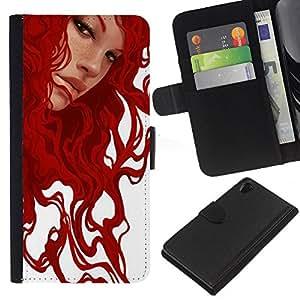KingStore / Leather Etui en cuir / Sony Xperia Z2 D6502 / Pintura jengibre arte de la muchacha blanca;
