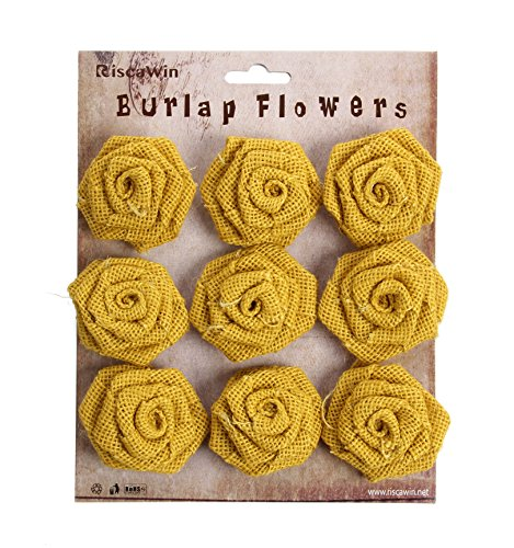 Burlap Flowers Packs Wedding Decorations, RiscaWin Burlap Rose Scrapbooking or Crafts Rosette Embellishments- 9 roses per pack(Yellow)
