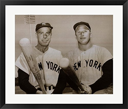 American Hero's Joe DiMaggio & Mickey Mantle Framed Art Print Wall Picture, Black Frame, 30 x 26 inches ()