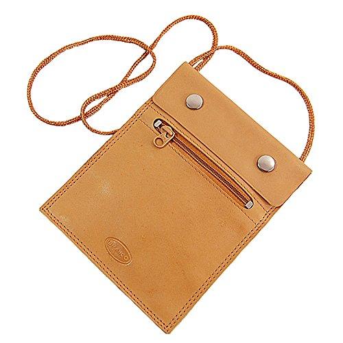 BRANCO sehr flacher Leder Brustbeutel Brusttasche Umhängebeutel Geldbeutel Security Wallet in verschiedenen Farben verfügbar GoBago (natur)