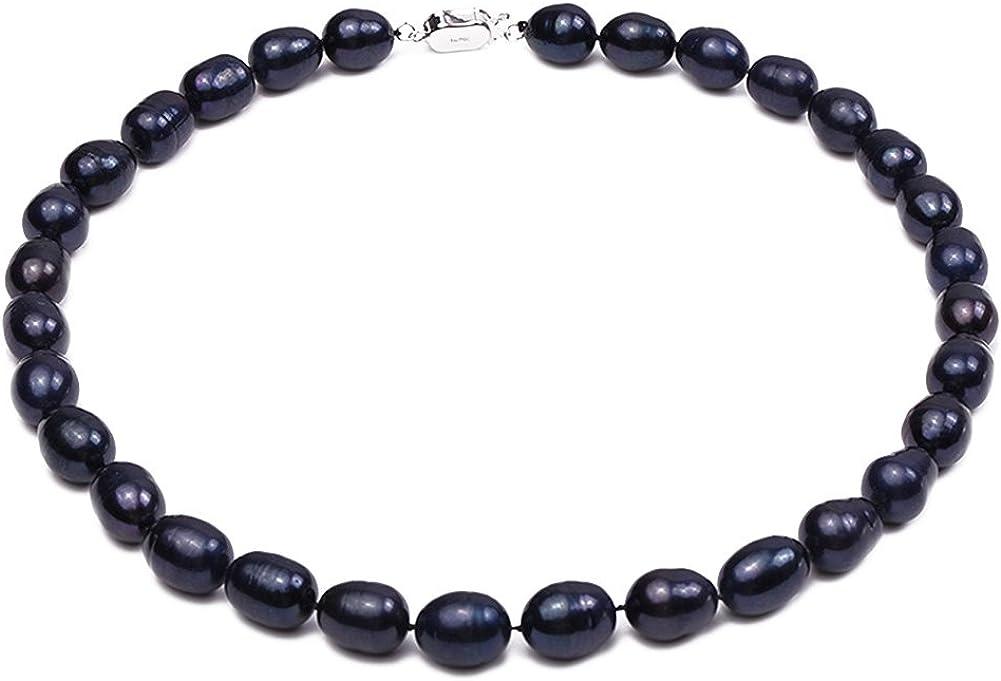 JYX 10-11mm Oval Negro Collar de Perlas de Agua Dulce 18