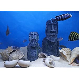 Niteangel Ancient Easter Island Stone Head Aquarium Ornament, Fish Tank Decoration Accessories 5