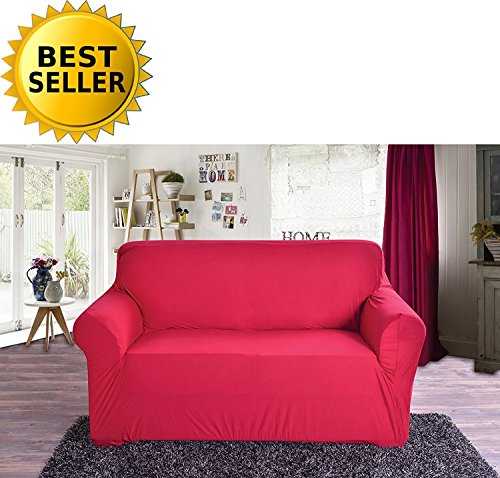 Elegant Comfort Collection Luxury Soft Furniture Jersey Stretch SLIPCOVER, Loveseat Ruby (Cover Couch Love Seat Red)