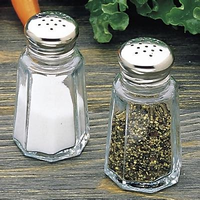 Tablecraft 1 Oz Round Glass Salt & Pepper Shakers with S/S Tops
