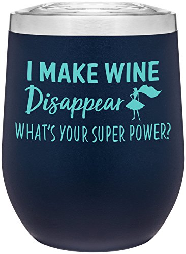 Bonfire Glass - Stainless Steel 12 oz Wine Glass Tumbler with Lid | Double Wall Vacuum Insulated | Powder Coated | Unique Gift Idea for Women | Customized With Funny Sayings (Matte Blue)