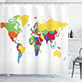 Ambesonne World Map Shower Curtain, Colorful Detailed Continents Design Countries and Oceans Cartoon Illustration, Cloth Fabric Bathroom Decor Set with Hooks, 70' Long, White Yellow