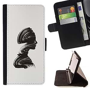 Momo Phone Case / Flip Funda de Cuero Case Cover - Minimalista Cepillo Alivio Mujer - Motorola Moto E ( 2nd Generation )
