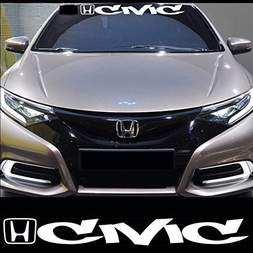 Kaizen White Windshield Sticker Banner Decal Vinyl Rally Window ART Graphic Decal Stripe Sticker For Honda (Honda Sticker)