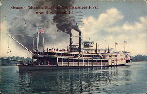 Steamer Morning Star on the Mississippi River Rock Island, Illinois Original Vintage Postcard