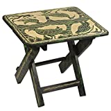 NOVICA Animal Themed Wood Folding Tables, Beige and Green, 'Jungle Of Birds'
