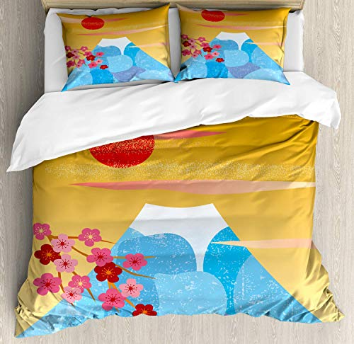 - Z&L Home Fuji Duvet Cover Bedding Sets Luxury Soft Flat Sheet Set with Pillow Shams for Kids Teen Girls Boys Men Women, Vertical Illustration of High Cliff Silhouette with Flowers
