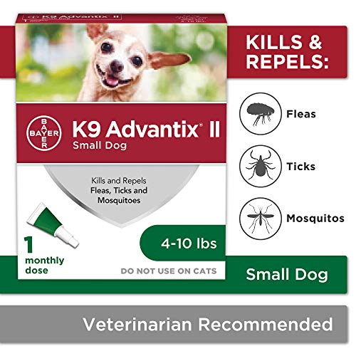Bayer Animal Health K9 Advantix II Flea & Tick Prevention for Dogs, Dog Flea & Tick Treatment for Small Dogs 4-10 Lbs, 1 Monthly Application