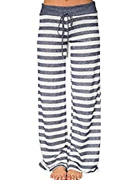 Women's Comfy Light Weight Loose Striped Palazzo Pj Lounge Pants