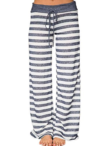 Stripe Pajama Bottoms (Famulily Women's Comfy Light Weight Loose Striped Palazzo Pj Lounge Pants(M,Grey))