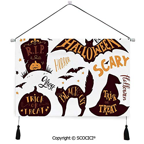 SCOCICI Durable Material Multipurpose W24xL17inch Wall Hanging Tapestry Halloween Symbols Trick or Treat Bat Tombstone Candy Scary Decorative Decorative Painting Living Room Painting Fabric Backgroun]()