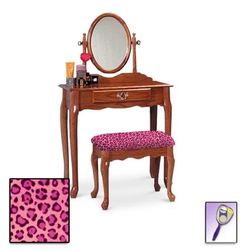 New Oak Finish Queen Anne Make Up Vanity Table with Mirror & Themed Bench (Pink Cheetah Jaguar Animal Print Bench) by The Furniture Cove