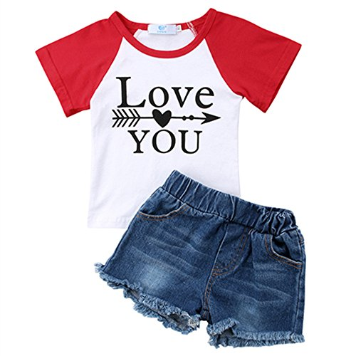 - Toddler Baby Girl Love You Arrow Print Tops T-Shirt+Denim Shorts Jeans Summer Clothes Outfits Set 18-24 Months