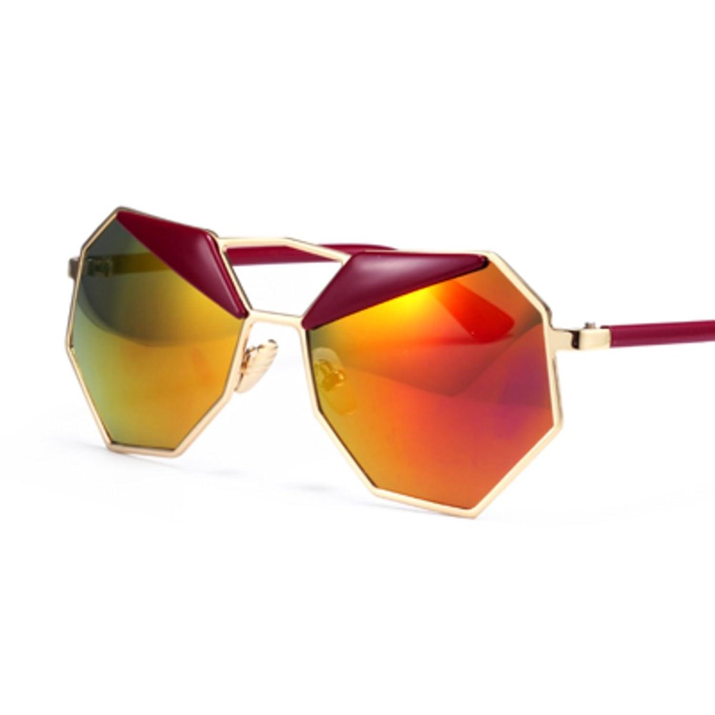 Polygon sunglasses/Round face retro sunglasses/Reflective color film Avantgarde fashion eyewear