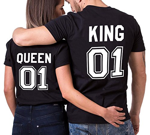 di Regalo per Donna Cotone Lovers Shirt 01 Corta T San Queen Uomo Coppia King Couple Maglietta Manica Shirt Valentino 100 Nero nero Stampa nTUaqxZHw