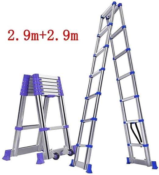 ZDTZ/L Escaleras Escalera telescópica Ingeniería Plegable for el hogar Taburete Escalonado de aleación de Aluminio Gruesa de Doble Cara de bambú portátil de bambú (Size : 2m+2m): Amazon.es: Hogar