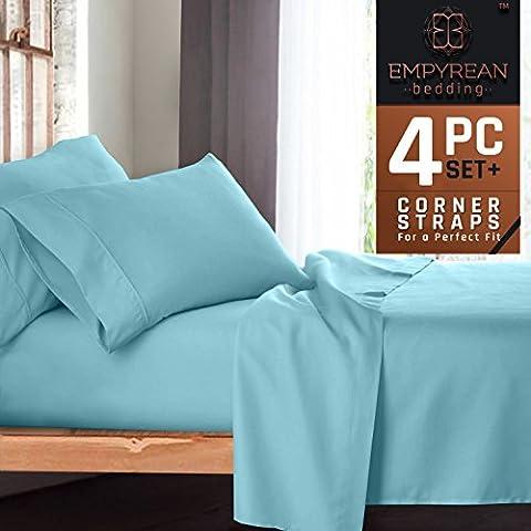Premium 4-Piece Bed Sheet & Pillow Case Set – Luxurious & Soft Twin (Single) Size Linen, Extra Deep Pocket Super Fit Fitted Aqua Light Blue - Blue Plush Mattress Set