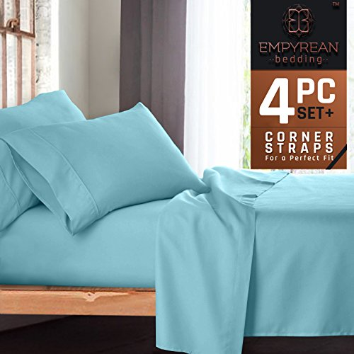 Premium 4-Piece Bed Sheet & Pillow Case Set – Luxurious & Soft Twin (Single) Size Linen, Extra Deep Pocket Super Fit Fitted Aqua Light Blue Sheets - 2 6 Bedding