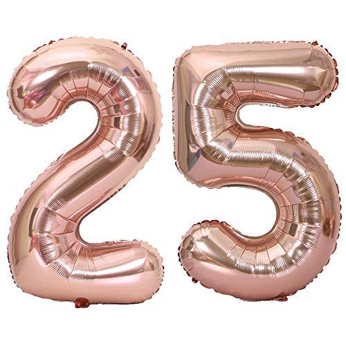 Tellpet Rose Gold Number 25 Balloon, 40 Inch]()