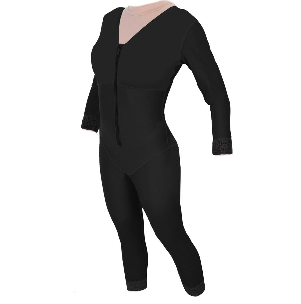 Post Abdominoplasty - Body Shaper Ankle with Sleeves | ContourMD : Style 29S (Medium, Black)
