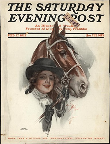 Young Woman With Horse Saturday Evening Post 1912 Harrison Fisher color cover