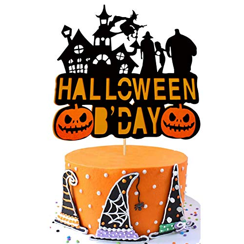 Halloween Birthday Cake Decorations (Halloween Birthday Cake Topper Pumpkin Haunted House Ghost Witch Theme Party Cake Supplies)