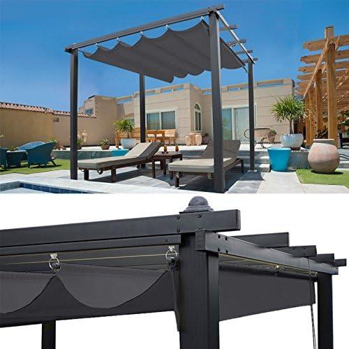 IDMarket - Pérgola de techo retráctil con 4 pies, 3 x 3 m, color ...