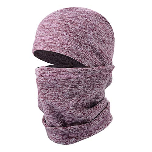 JIUSY 1 Pack - Thick Fleece Balaclava Neck Warmer Hood Cover Face Mask Windproof Wind Dust Protection for Ski Snowboard Hunting Hiking Walker Camping Cycling Cold Weather Winter Gear Men Women Brown