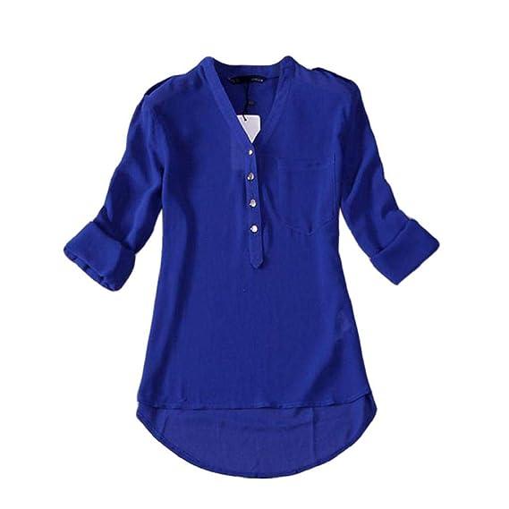 Luckycat 1PC Mujeres Primavera Verano con Cuello en v Gasa Manga Larga Camisa Casual Blusa (