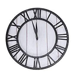 Huanxidp Round for Wall Clock Wrought Iron American Clock Home Living Room Silent Wall Clock
