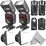 Altura Photo Universal Flash Bundle - 2 Flashes + Trigger Set + Diffuser Kit Fits most Cameras - Photo Studio