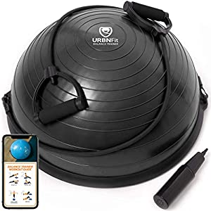 Well-Being-Matters 51ekn%2B6q9zL._SS300_ URBNFit Balance Ball - Half Yoga Ball Trainer for Core Stability and Full-Body Workout with Resistance Bands, Pump and…