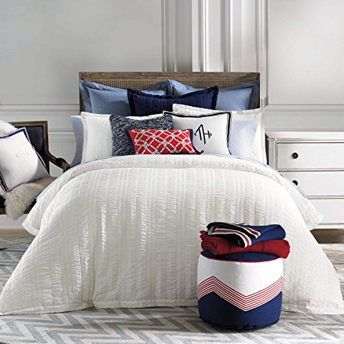 (Tommy Hilfiger Seersucker Duvet, Full/Queen, White)