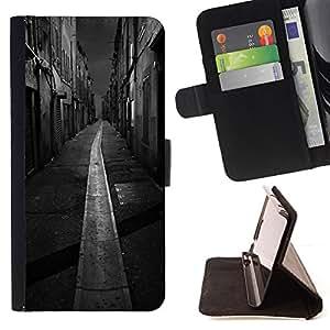 """For Sony Xperia M4 Aqua,S-type Negro Blanco Italia Francia Ciudad"""" - Dibujo PU billetera de cuero Funda Case Caso de la piel de la bolsa protectora"""