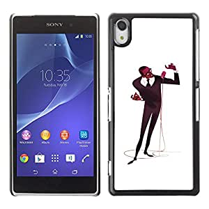 A-type Colorful Printed Hard Protective Back Case Cover Shell Skin for SONY Xperia Z2 / D6502 / D6503 / D6543 / L50W / L50t / L50u ( Microphone Singer Man Black Music Art )