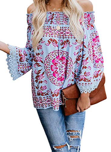 (Asvivid Womens Ethnic Printed Tops Off The Shoulder Lace Crochet Kimono Sleeve Loose Work Blouses Plus Size 1X Blue)