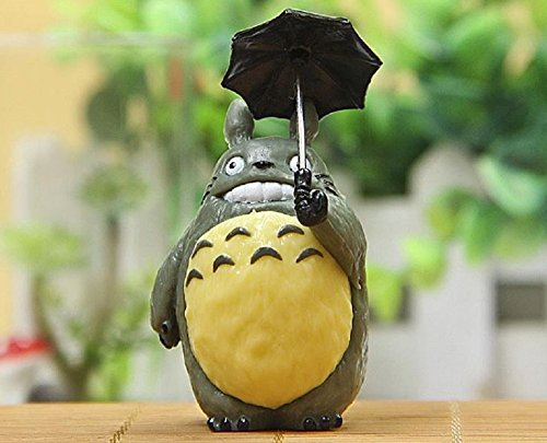 [Anime Cartoon 6.3cm Totoro With Umbrella PVC Action Figure Collectible Model Toy Doll Micro Landscape for Garden Kids Toys] (Mr Gold Lego Costume)