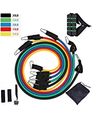Exercise Resistance Bands 11 PCS Set,Fitness Stretch Workout Bands with Tubes-5 Tubes, 2 Hand Grips, Door Anchor, Ankle Straps, Carrying Pouch-Yoga, CrossFit, Pilates for Physio Home Gym Equipment