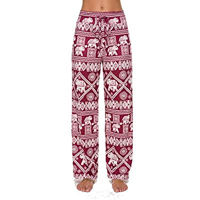 Roselux Women's Casual Comfy Pajama Pants Stretch High Waisted Drawstring Palazzo Lounge Loose Wide Leg Yoga Pants at Women's Clothing store