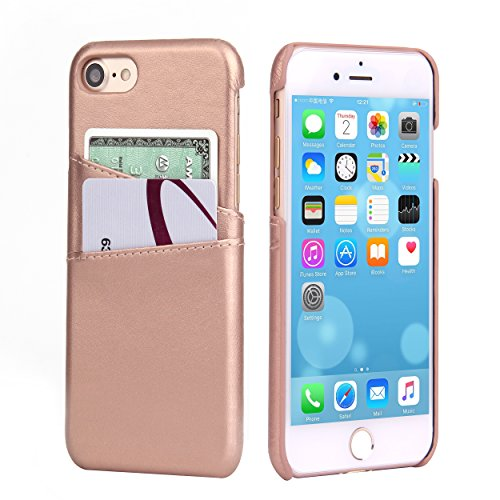iPhone 8 Wallet Case, iPhone 7 Leather Card Case - SOWOKO Ultra Slim Faux Leather Credit Card Slots ID Holder Shockproof Protective Cover for Apple iPhone 8 (2017) / iPhone 7 (2016) - Rose Gold