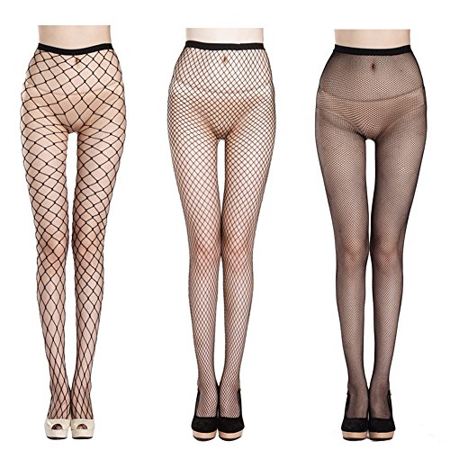 Sexy Nylon Fishnet Pantyhose (QIDIANTRADE Fishnet Stockings Hollow Stretchy Tight Seamless Sexy Net Pantyhose Womens Black Mesh Tights (Pack of 3))