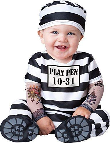 Deluxe Baby Boys Girls Time Out Prisoner Convict in Character Halloween Fancy Dress Costume Outfit (0-6 Months) Black/White -