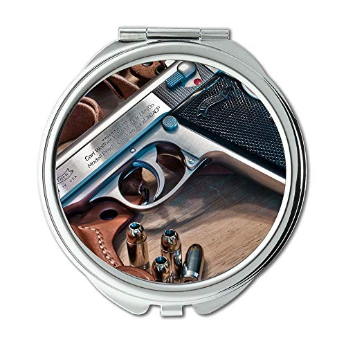 Yanteng Mirror,Travel Mirror,Gun and Knife Show,Round Mirror,All Gun,Pocket Mirror,Portable Mirror