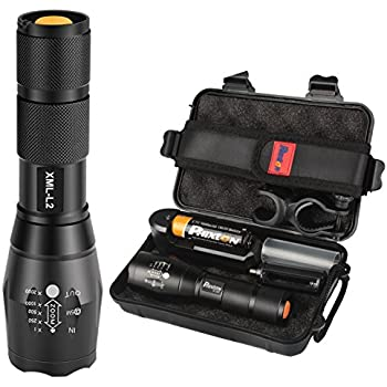 Tactical LED Flashlight 1200lm L2 Phixton Military Police Handheld Zoomable 5-Mode Aluminium Metal Water-resistant For Hiking Camping 18650 Rechargeable Battery Charger Pouch Box Bike Mount Included